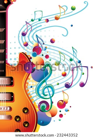 Vector modern music design - guitar & notes - stock vector