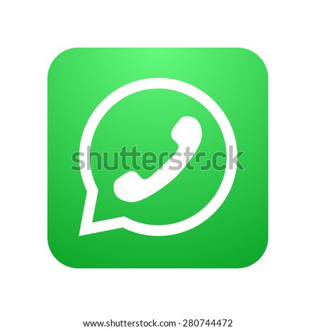 Vector modern phone icon in bubble speech on white background - stock vector