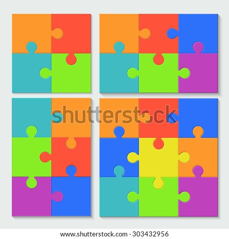 vector modern puzzele set with shadow on white background - stock vector