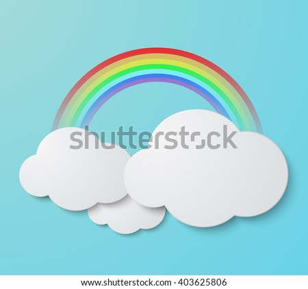 Vector modern rainbow with clouds background. Summer invitation poster - stock vector