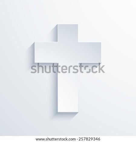 Vector modern religious cross icon with long shadow - stock vector