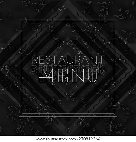Vector modern restaurant menu cover template on black marble background. High quality design element - stock vector