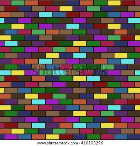 vector modern seamless colorful brick wall background texture. Eps10 - stock vector