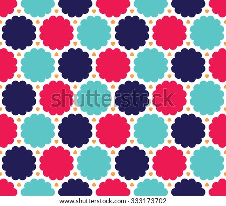 Vector modern seamless colorful geometry cloud pattern, color blue pink abstract geometric background, trendy multicolored print, retro texture, hipster fashion design - stock vector