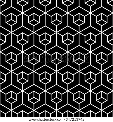 Vector modern seamless geometry pattern illusion, black and white abstract geometric background, pillow print, monochrome retro texture, hipster fashion design