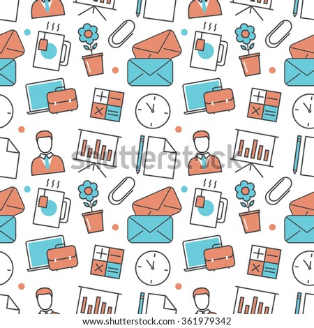 Vector modern seamless pattern texture background of flat office, work tools icons. Thin line illustration design for wallpapers, print,, packaging, magazines and backdrops on websites - stock vector