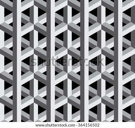 Vector modern seamless sacred geometry pattern 3d , black and white abstract geometric background, pillow print, monochrome retro texture, hipster fashion design - stock vector