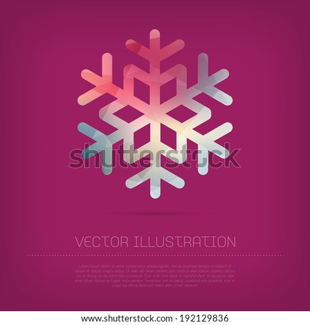 Vector modern snowflake icon with colorful trendy and modern polygonal texture - stock vector