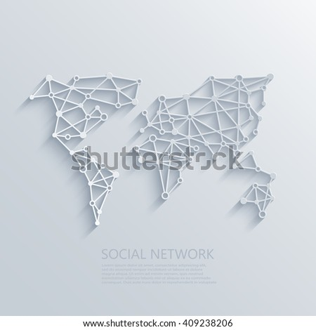 Vector modern social network light concept background. Circuit board or low poly concept - stock vector