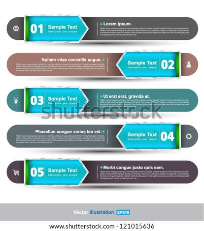 Vector Modern soft color Design template / can be used for infographics / numbered banners / horizontal cutout lines / graphic or website layout vector - stock vector
