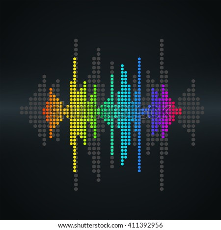 Vector modern sound wave. Halftone square vector elements. Music polygons waveform background. You can use in club, radio, pub, party, concerts, recitals or the audio technology background. - stock vector