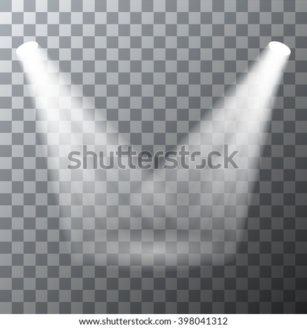 Vector modern spotlights scene with light effects on transparent background - stock vector