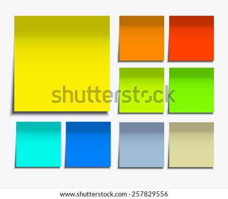 Vector modern square sticky note set on white background - stock vector