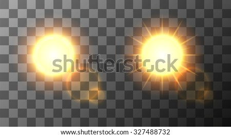 Vector modern sun set on sample background. sunshine design. Eps10 - stock vector