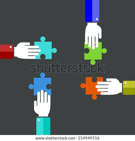 Vector modern teamwork background. Puzzle icons. Eps10 - stock vector