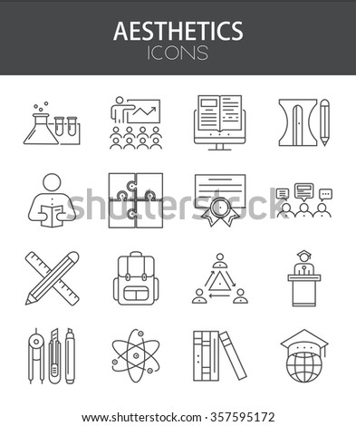 Vector modern thin line flat design of icons set. coaching and education outline infographic collection - stock vector