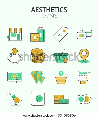 Vector modern thin line flat design of icons set. Money and Shopping, e-commerce, infographic collection - stock vector