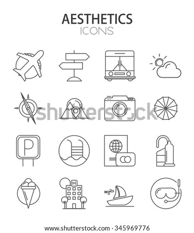 Vector modern thin line flat design of icons set. Travel and tourism , infographic collection - stock vector