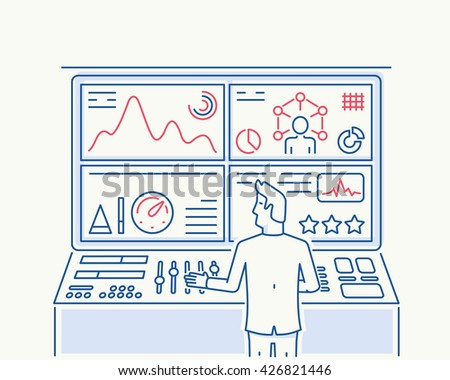 Vector modern thin line illustration related to Human Recource, Customer Relationship Management, Strategy Management System and Balanced Scorecard - stock vector