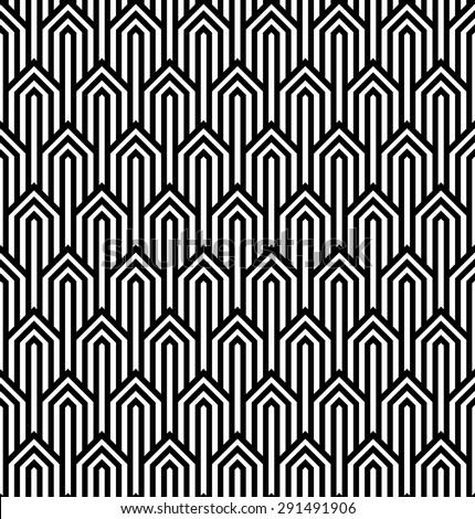 Vector modern tiles pattern. Abstract op art seamless monochrome background or wallpaper - stock vector