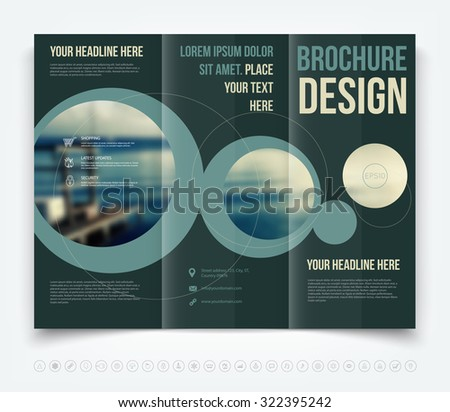 Vector modern tri-fold brochure design template - stock vector