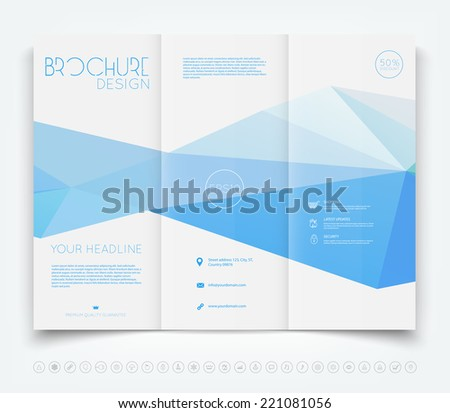 Vector modern tri-fold brochure design template with blue polygonal background - stock vector