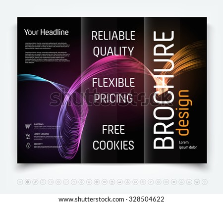 Vector modern tri-fold brochure design template with colorful dynamic freehand swirl on dark background - stock vector