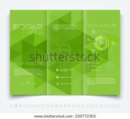 Vector modern tri-fold brochure design template with green triangular background - stock vector