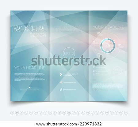 Vector modern tri-fold brochure design template with light blue geometric background - stock vector