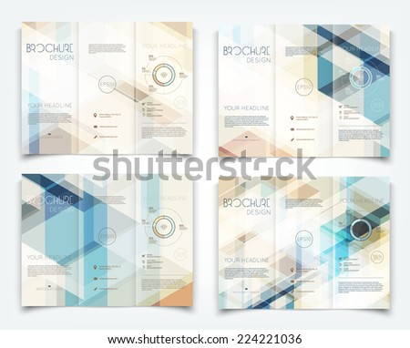 Vector modern tri-fold brochure design templates collection with hi-tech polygonal background - stock vector