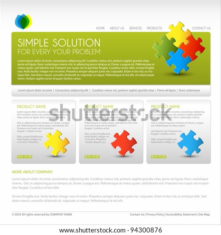 Vector Modern web page template - green version - stock vector