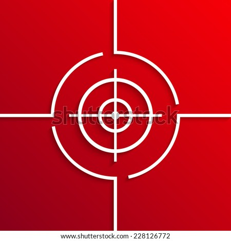 Vector modern white aim circle icon on red background. Eps10 - stock vector