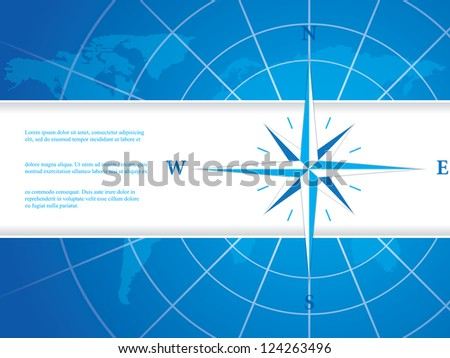 Vector modern wind rose compass - stock vector