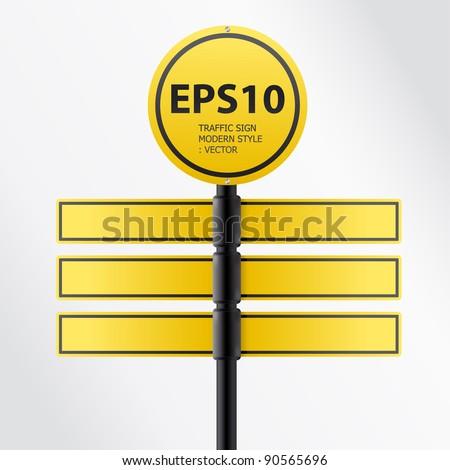 vector modern yellow traffic sign - stock vector
