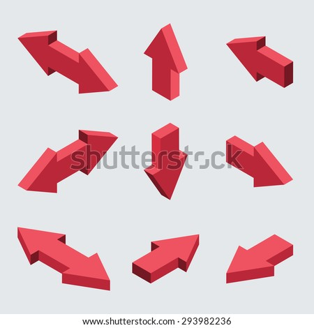 Vector moders set of isometric arrows on gray background