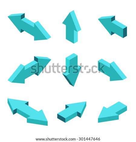 Vector moders set of isometric arrows on gray background - stock vector