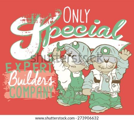 Vector mole workers cartoon.Print design for kids T-shirt - stock vector