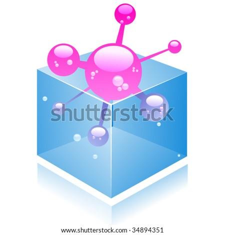vector molecule in the box. - stock vector