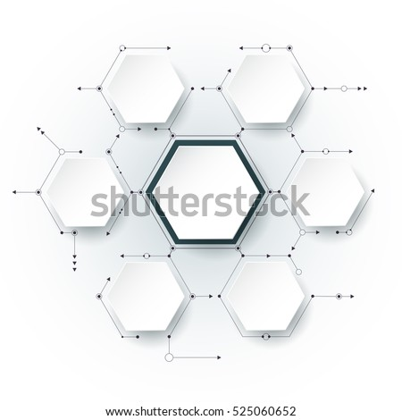 Vector molecule with 3D paper label, integrated Hexagon background. Blank space for content, business, infographic, diagram,digital network, flowchart. Social network connection technology concept