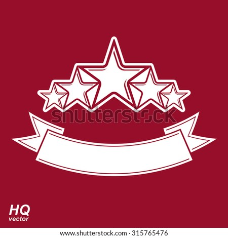 Vector monarch symbol. Festive graphic element with five pentagonal stars and curvy ribbon, decorative luxury eps8 template. Design element. - stock vector