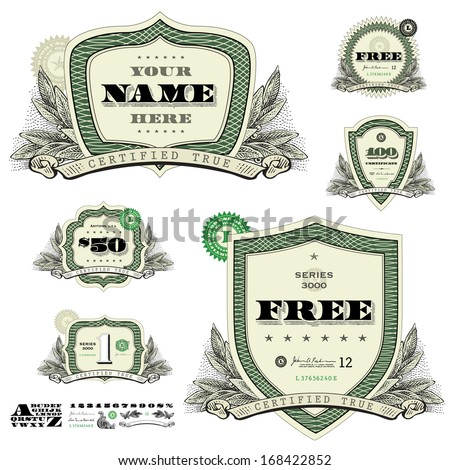 Vector money badges and financial frames with leaf decorations. Great for any design showing money, business, or success.  - stock vector