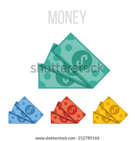 Vector money icons. - stock vector