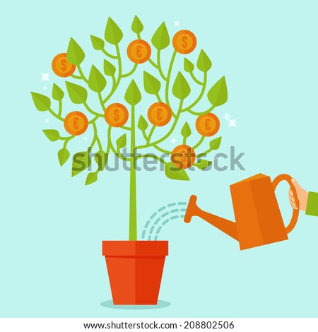 Vector money tree concept in flat style - green plant with coins on the branches - investment concept - stock vector