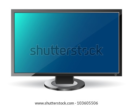 Vector monitor on white background