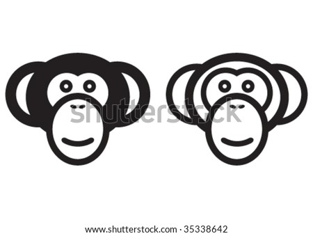 Vector monkey signs. - stock vector