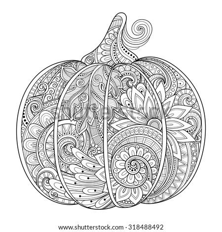 Vector Monochrome Decorative Punkim with Beautiful Pattern. Thanksgiving Symbol. Halloween Decorations - stock vector