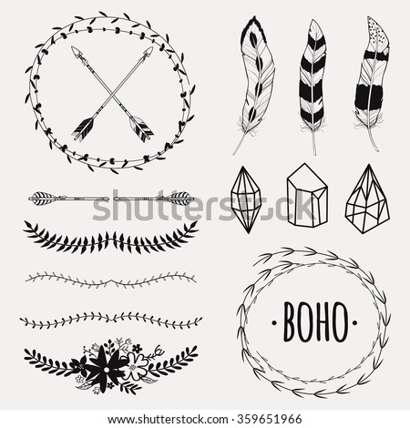 Vector monochrome ethnic set with arrows, feathers, crystals, floral frames, borders. Modern romantic boho style. Templates for invitations, scrapbooking. Hippie design elements. - stock vector