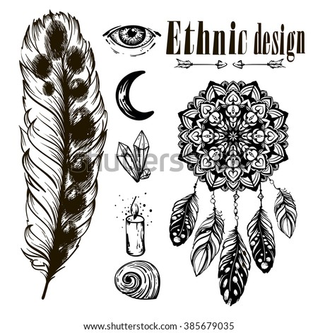Vector Monochrome Ethnic Set Crystals Borderstemplates Stock Vector ...