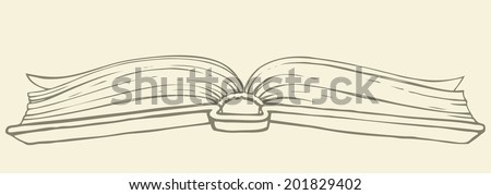Vector monochrome freehand illustration style handmade ink on paper. Old open book with pages flying in thick hardcover. View from the bottom side on beige background - stock vector