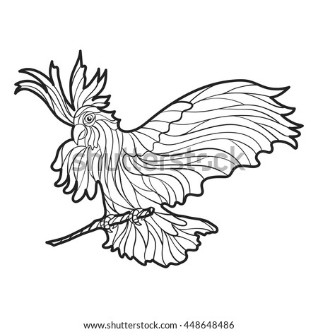 Vector Monochrome Hand Drawn Illustration Of Parrot Coloring Page With High Details Isolated On White